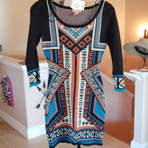 Flying Tomato Aztec Boho Sweater Knit Fall Dress